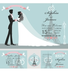 Wedding invitation setbridegroomeiffel tower vector