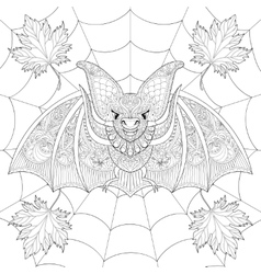 Zentangle stylized bat with fall autumn leaves on vector