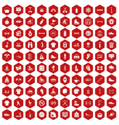 100 sport life icons hexagon red vector