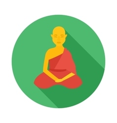 Sitting buddhist monk icon flat style vector