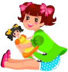 Girl and doll vector