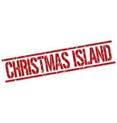 Christmas island red square stamp vector