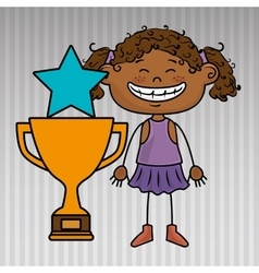 Girl trophy star icon vector