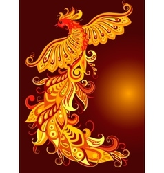 A mythical fire bird vector