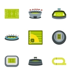Championship icons set flat style vector