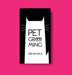 Pet grooming business card design template with vector