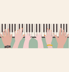 Hands of family members playing piano vector