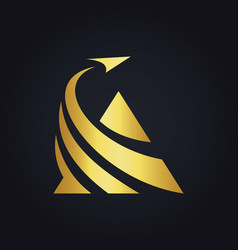 Triangle business finance arrow gold logo vector