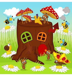 stump house insects vector image