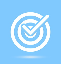 Checkmark white symbol over blue background vector