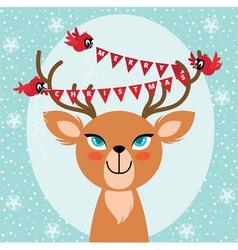 Birds and Christmas reindeer vector image