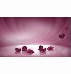3d pink background with burgundy rose vector