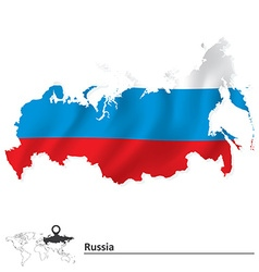 Map of russia with flag vector