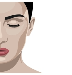 Fashion beauty half face female model vector