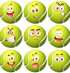 Tennis ball with facial expression vector