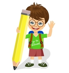 Cute little boy holding big yellow pencil vector