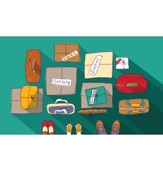 Moving passage luggage family things in boxes vector