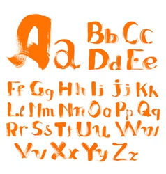 Handwritten by a textured brush alphabet vector