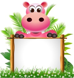 Cute hippopotamus with blank sign vector