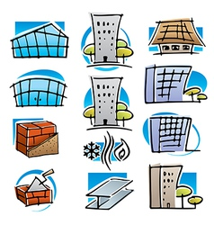 Real estate and construction icons vector