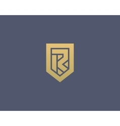 Abstract letter r shield logo design template vector