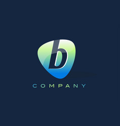 B letter logo oval shape modern design vector