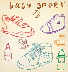 Baby shoes set sketch handdrawn color crayons vector image
