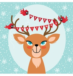 Birds and christmas reindeer vector