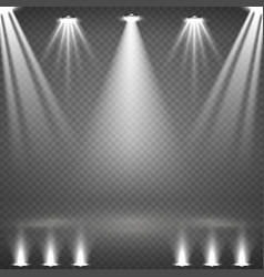 Blank scene with glowing white spotlights vector