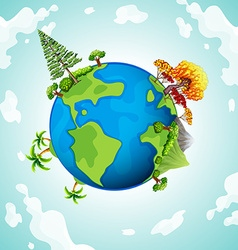 Blue planet with trees and mountains vector