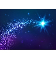 Blue shining star with dust tail vector