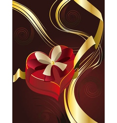 Brown Background with Heart Shaped Box vector image vector image