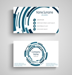 Business card with abstract technical blue round vector