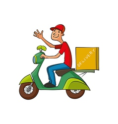 Courier rides on scooter vector