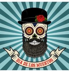 Day of the dead dia de los muertos sugar skull vector