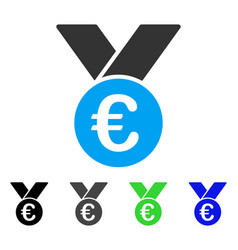 Euro prize medal flat icon vector