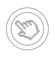 figure symbol pixel hand cursor icon vector image