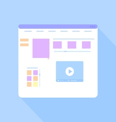Flat site template on a blue background vector image vector image