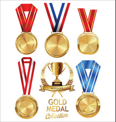 Gold trophy and medal with laurel wreath vector