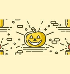 halloween seamless pattern with pumpkin and candle vector image
