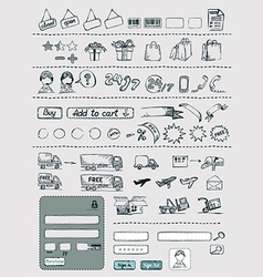 Hand Drawn Shopping Elements Set vector image