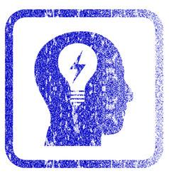 Head bulb framed textured icon vector