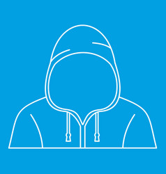 Hooded man icon outline style vector