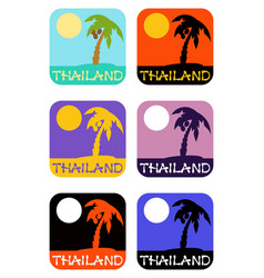 Icons set palm tree emblems vector