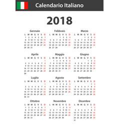 italian calendar for 2018 scheduler agenda or vector image