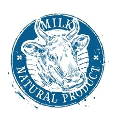 milk logo design template cow or farm icon vector image