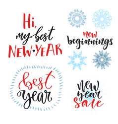 New year calligraphic lettering set design for vector