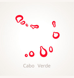 Outline map of cabo verde cape verde marked with vector