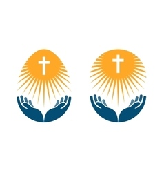 Religion logo church pray or bible icon vector