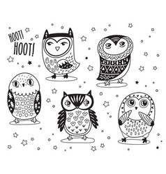 Set of cute cartoon owls with ethnic ornament in vector